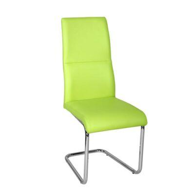 Étkező szék, króm/zöld textilbőr, BETINA