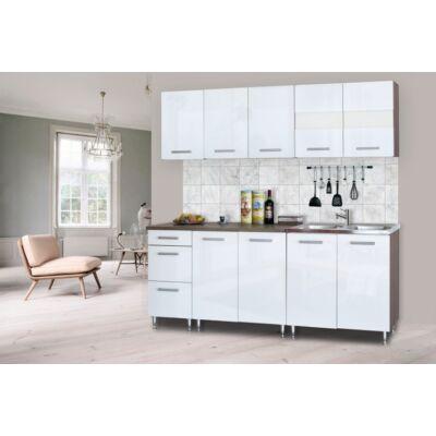 Dorina konyhablokk, 200 cm, magasfényű fehér
