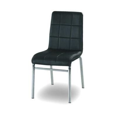 Krómozott szék , fekete textilbőr, DOROTY NEW
