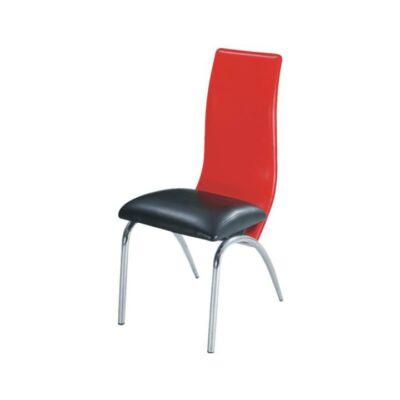 Étkező szék, króm + textilbőr - fekete/piros, DOUBLE