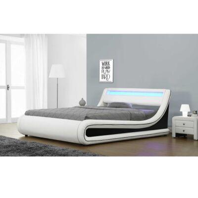 Franciaágy RGB LED világítással, fehér/fekete, 180x200, MANILA