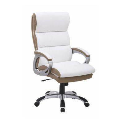 T-Irodai szék, fehér/barna textilbőr, KOLO CH137020