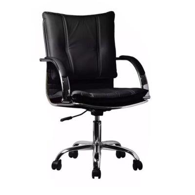 T-Irodai szék, fekete textilbőr PU, QURIN
