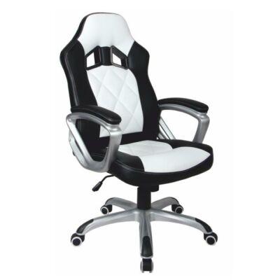 T-Irodai szék, fekete textilbőr/fehér textilbőr, LOTAR