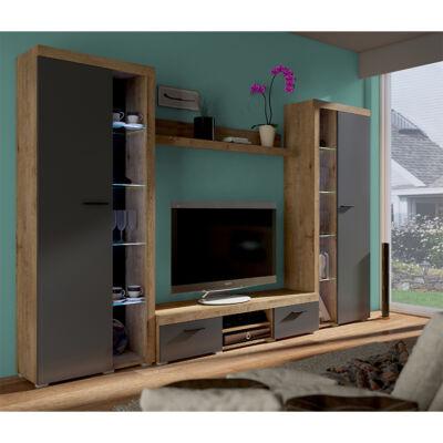 Nappali bútor, tölgy lefkas/grafit, NESEBAR XL