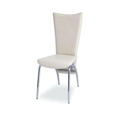 Krómozott szék, krémszínű textilbőrből, VANDA