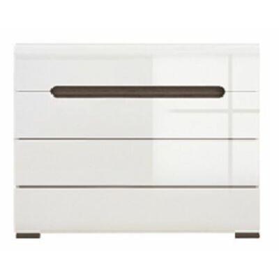 Azteca system  KOM4S/8/11 komód magasfényű fehér ajtós szekrény