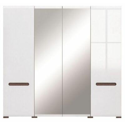 Azteca R system SZF2D2L/21/22 tükrös gardób szekrény állvány magasfényű fehér ajtós szekrény