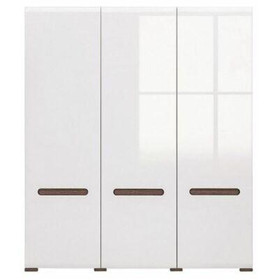 Azteca R system SZF3D/21/18 gardrób szekrény állvány magasfényű fehér ajtós szekrény