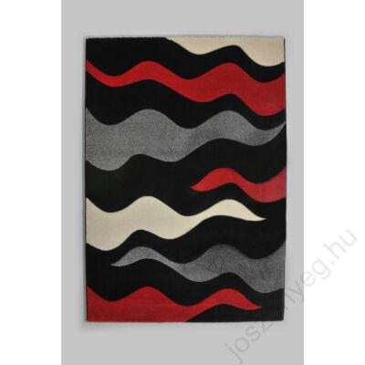 1-159 Nyírt szőnyeg - piros-fekete hullámos