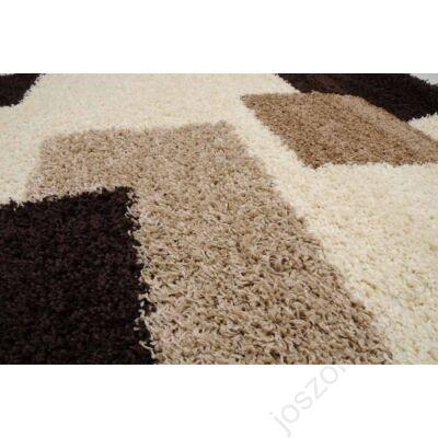 1-051Shaggy szőnyeg-  Kockás,Bézs