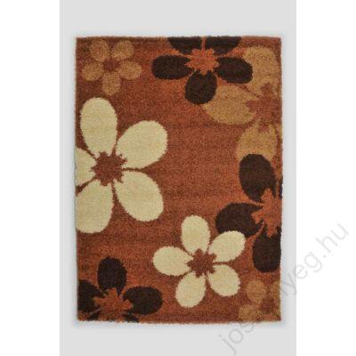 1-890 Shaggy szőnyeg -  Nagy virágos, Fahéj/Bézs