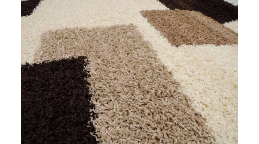 Fekete-fehér-drapp kockás shaggy szőnyeg akciósan webshopból 37bbdddc68